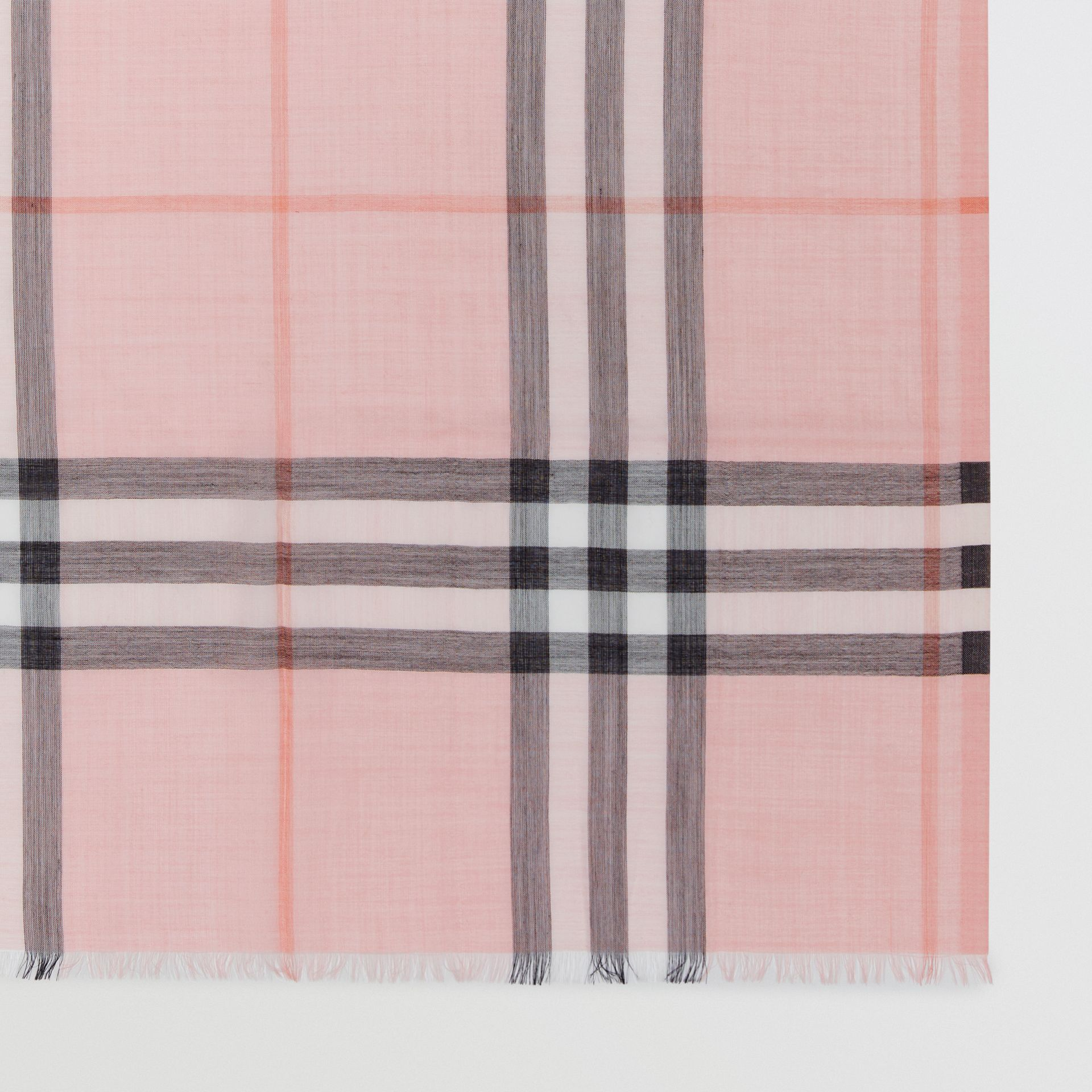 Lightweight Check Wool and Silk Scarf in Ash Rose | Burberry Canada - gallery image 1