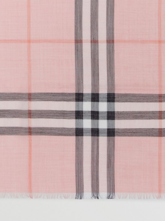 Lightweight Check Wool and Silk Scarf in Ash Rose | Burberry Australia - cell image 1