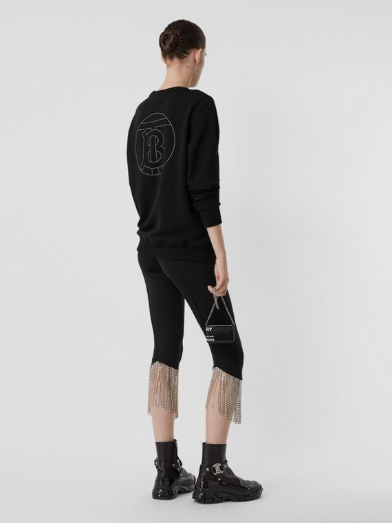 Crystal Monogram Motif Cotton Oversized Sweatshirt in Black