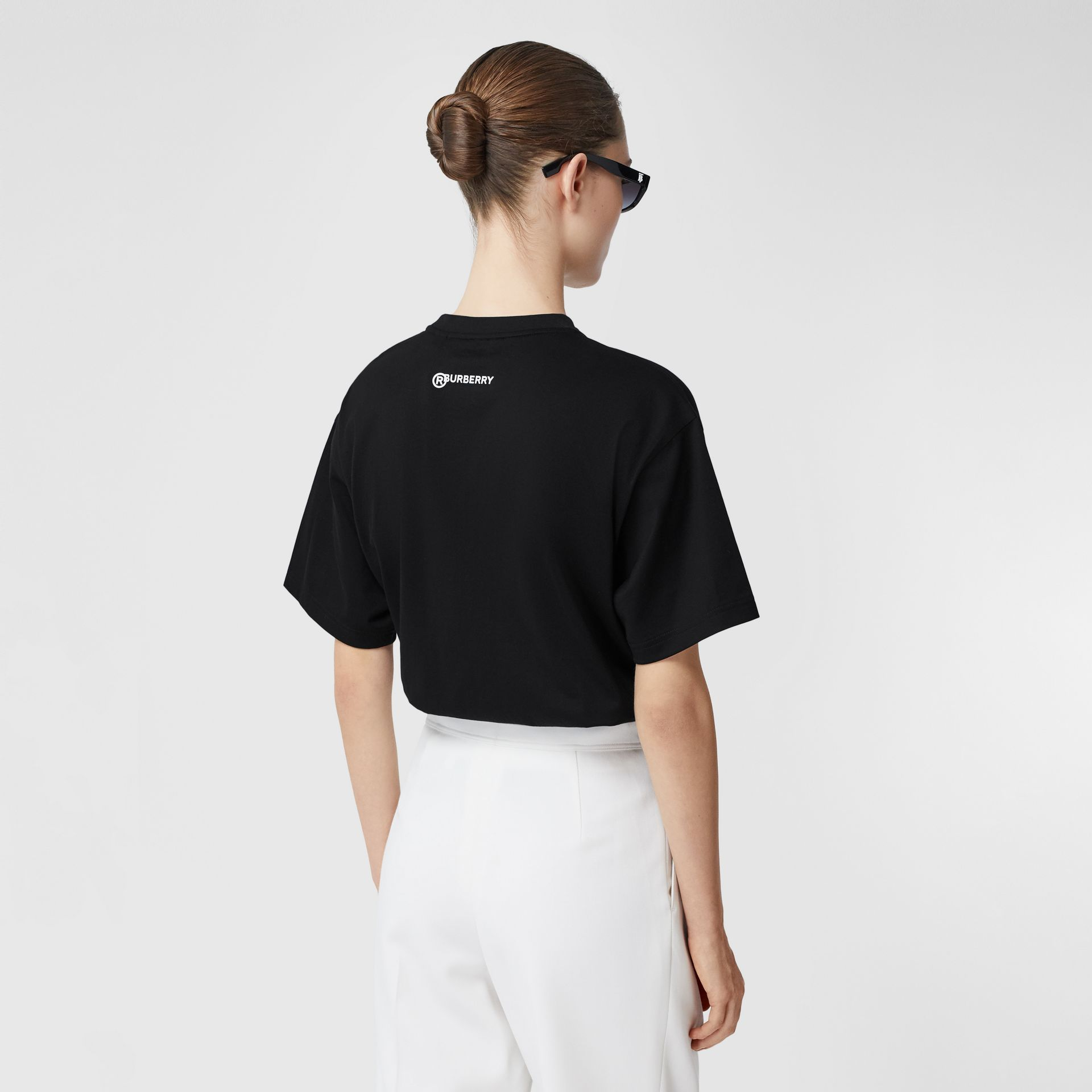 Love Slogan Cotton Oversized T-shirt in Black - Women | Burberry United Kingdom - gallery image 2