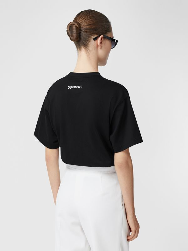 Love Slogan Cotton Oversized T-shirt in Black - Women | Burberry United Kingdom - cell image 2