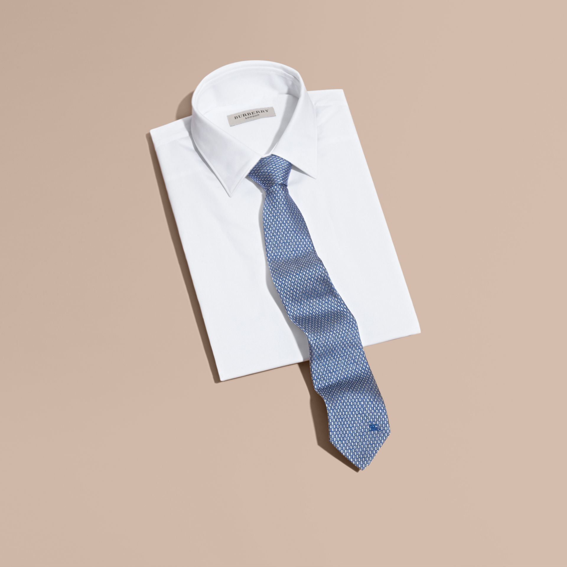 Modern Cut Silk Jacquard Tie in Mineral Blue - gallery image 3