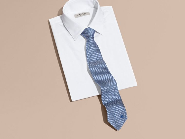 Modern Cut Silk Jacquard Tie in Mineral Blue - cell image 2