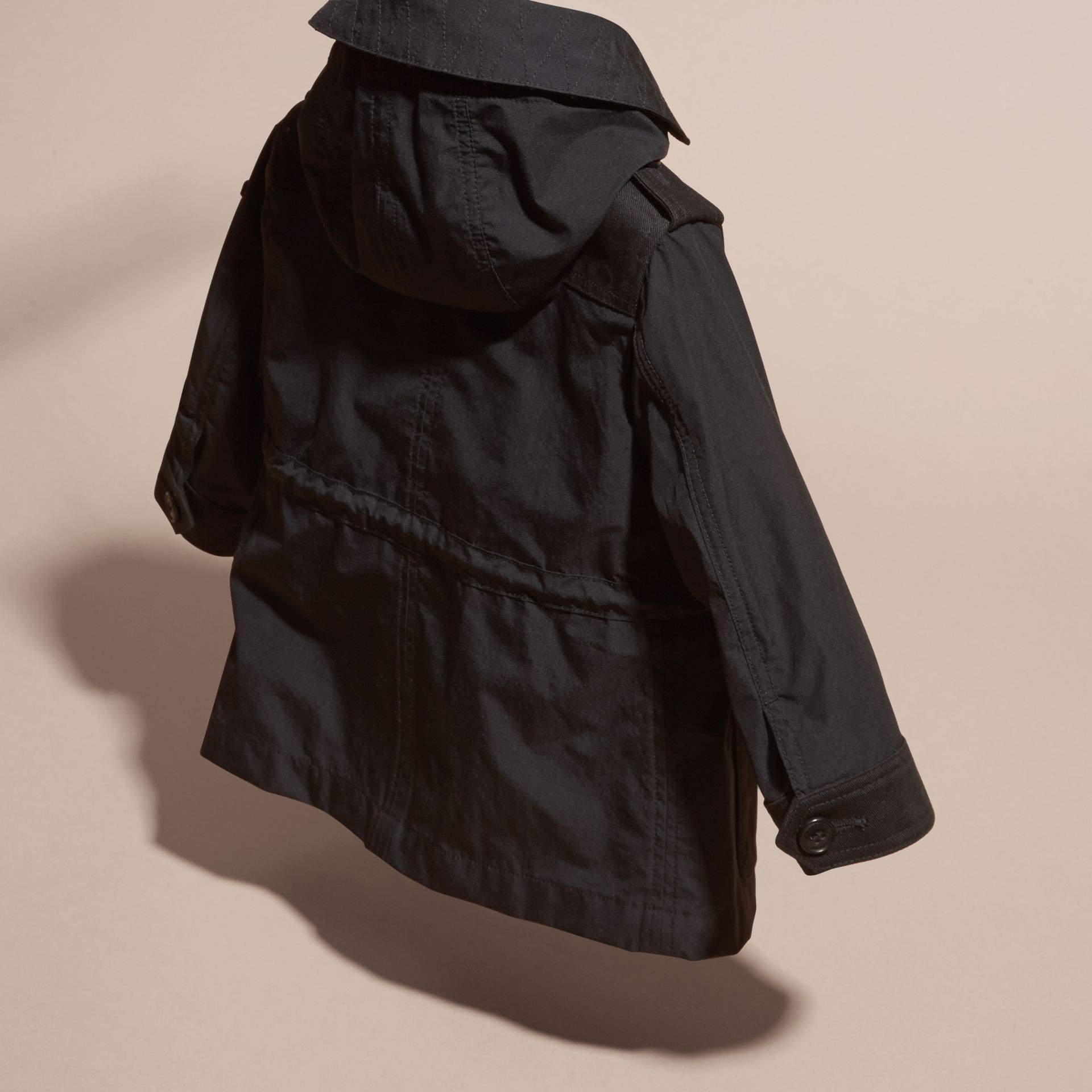 Black Showerproof Jacket with Detachable Hood - gallery image 4