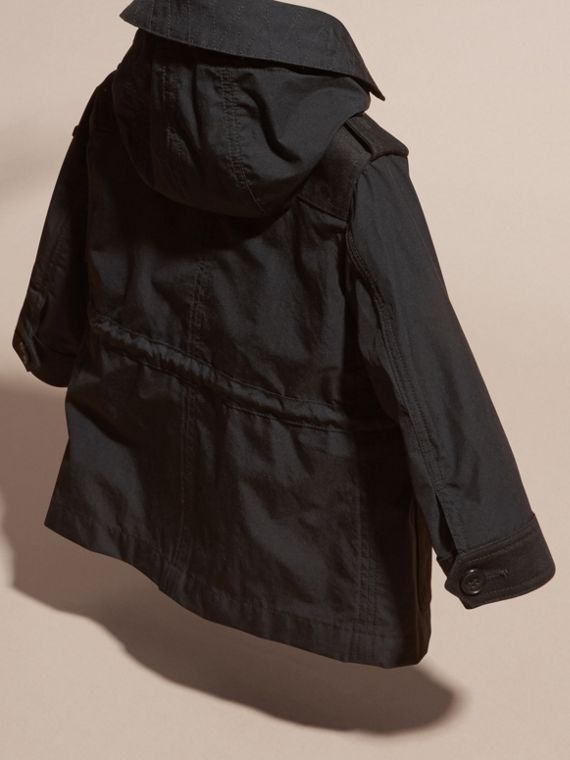 Black Showerproof Jacket with Detachable Hood - cell image 3