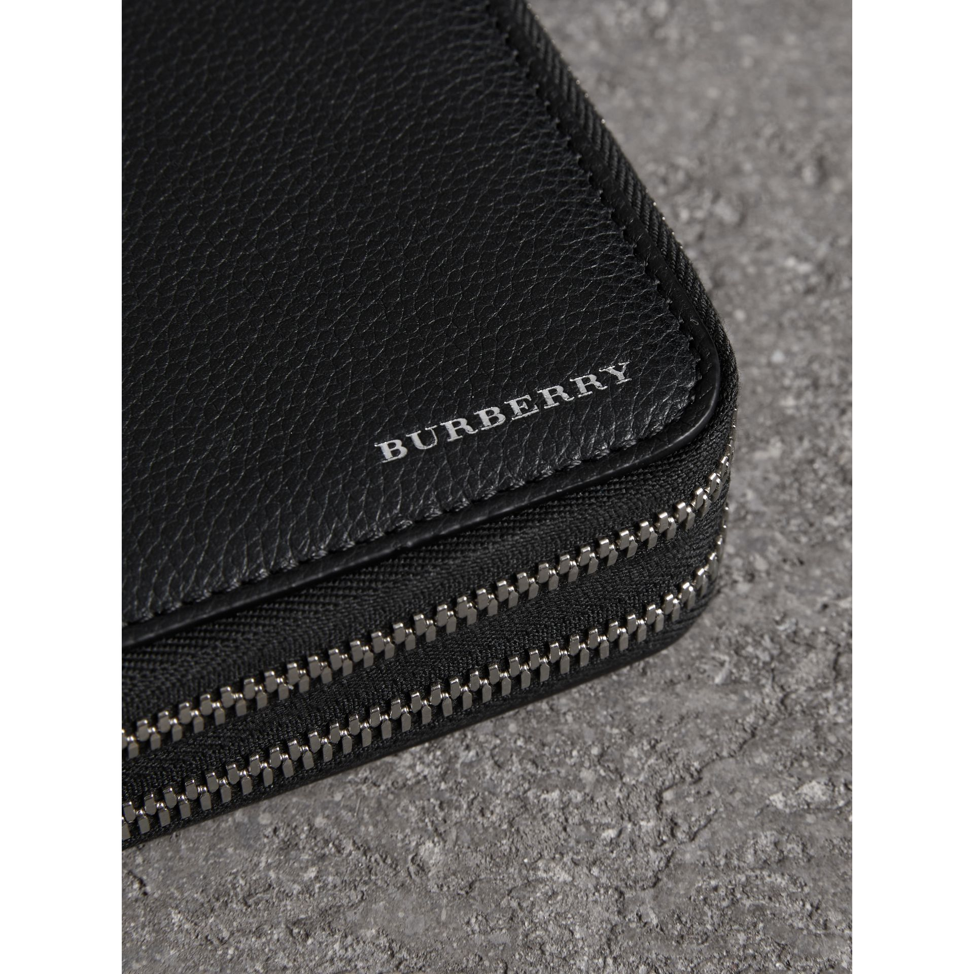 Grainy Leather Travel Wallet in Black - Men | Burberry - gallery image 1