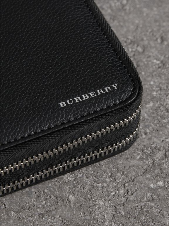 Grainy Leather Travel Wallet in Black - Men | Burberry Canada - cell image 1