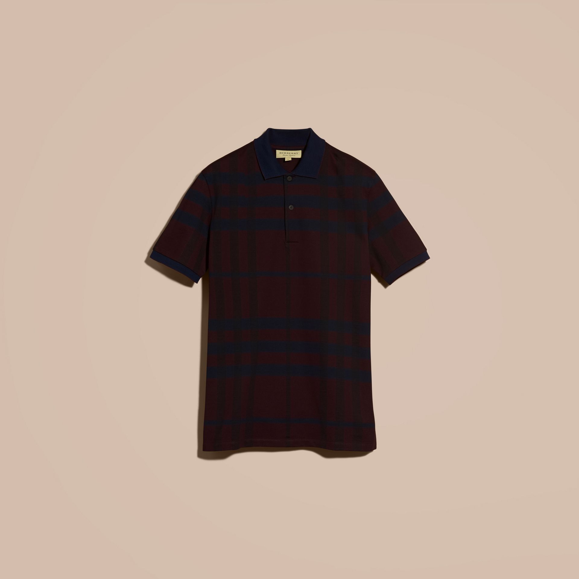 Burgundy red Check Stretch Cotton Polo Shirt Burgundy Red - gallery image 4