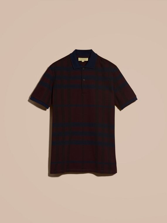 Burgundy red Check Stretch Cotton Polo Shirt Burgundy Red - cell image 3