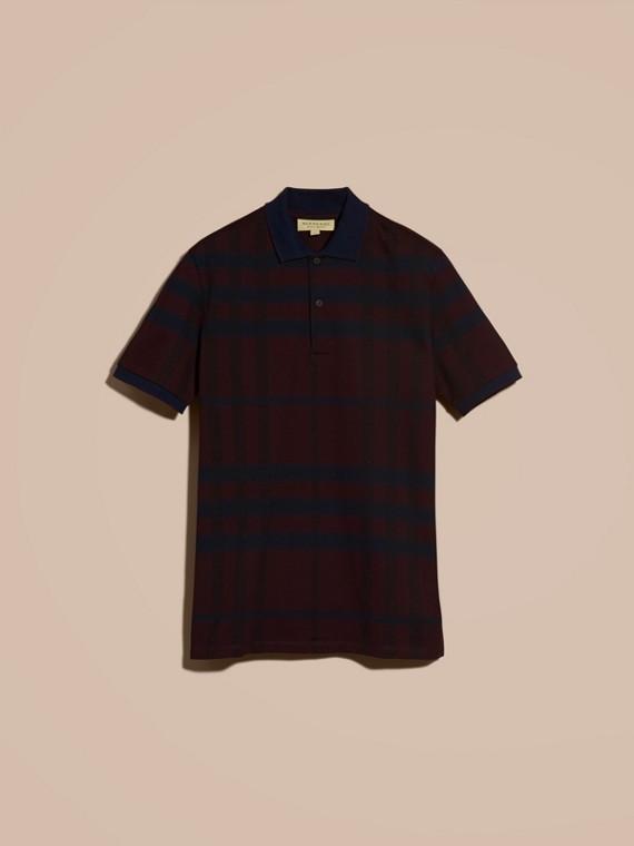 バーガンディレッド チェック ストレッチコットン ポロシャツ バーガンディレッド - cell image 3