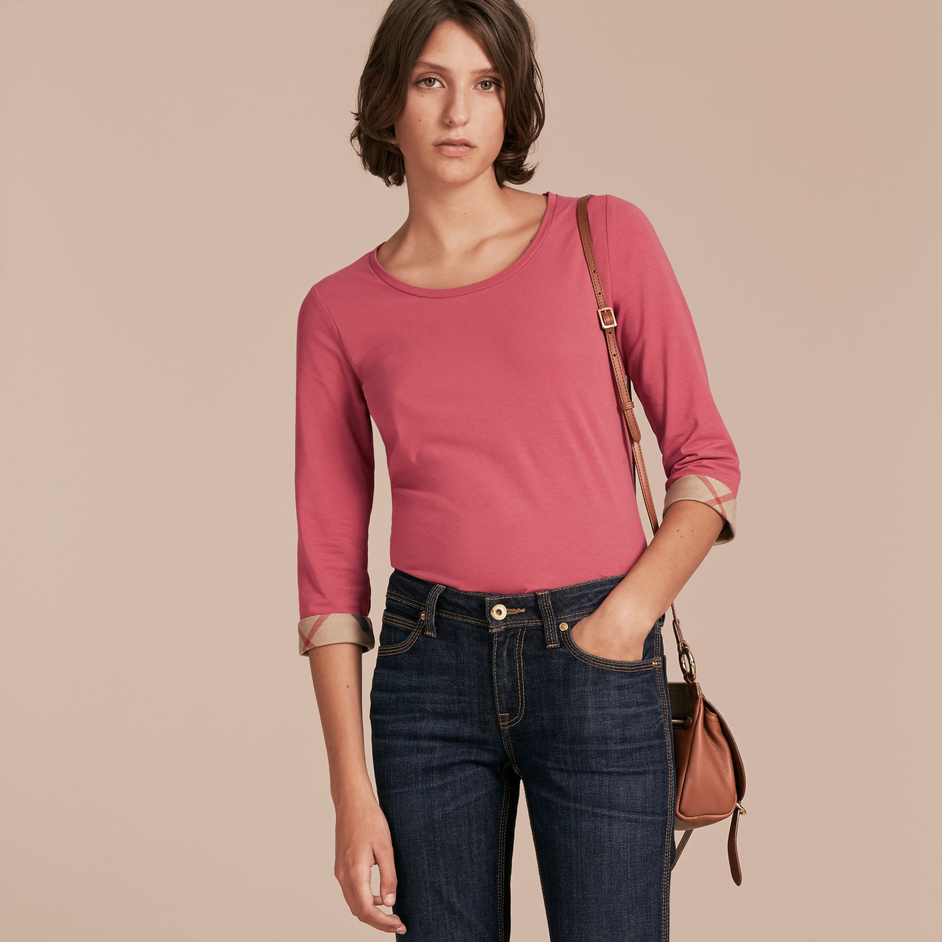 Three-quarter Sleeved Stretch Cotton T-shirt with Check Trim Pink Azalea - gallery image 6