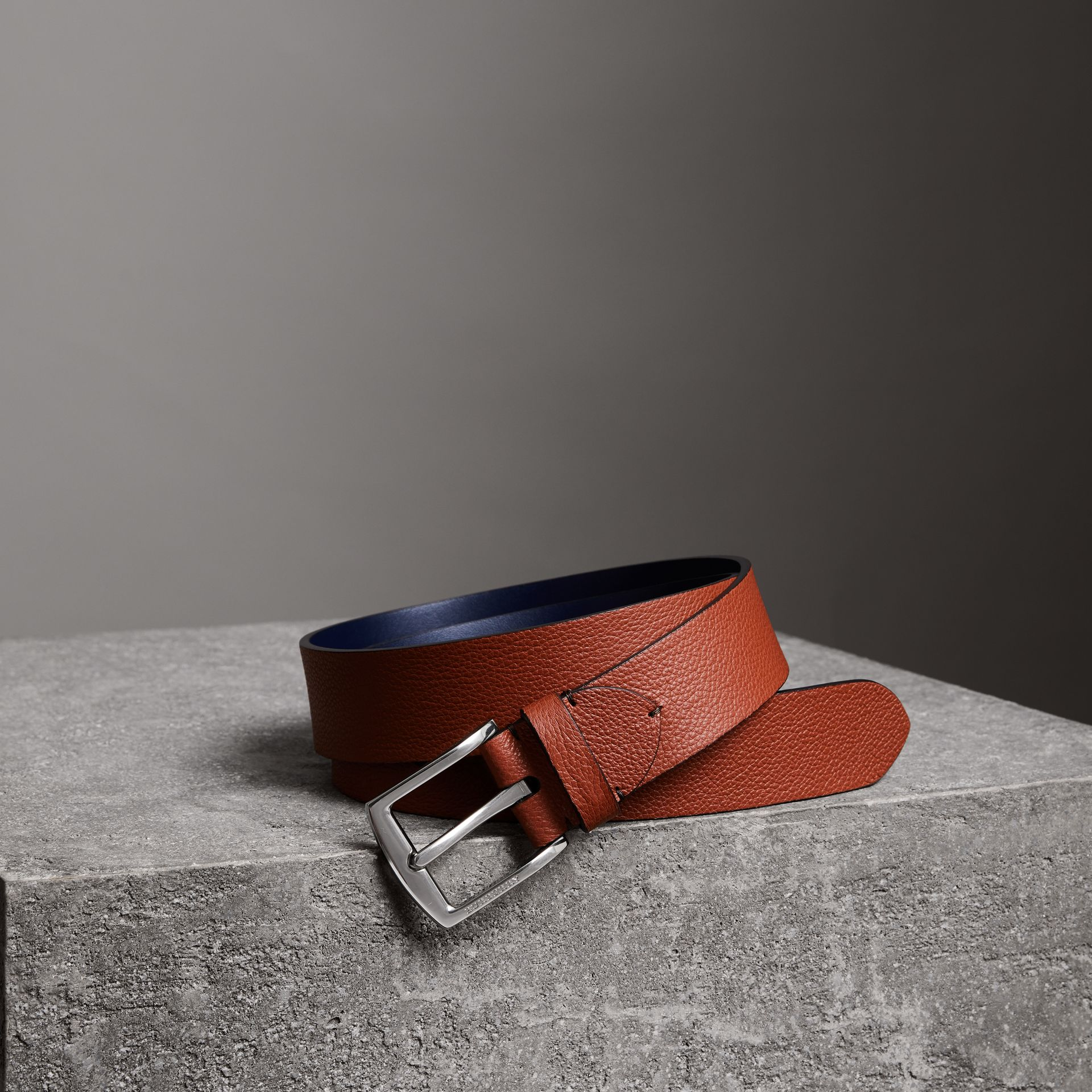 Grainy Leather Belt in Russet Brown - Men | Burberry Australia - gallery image 0
