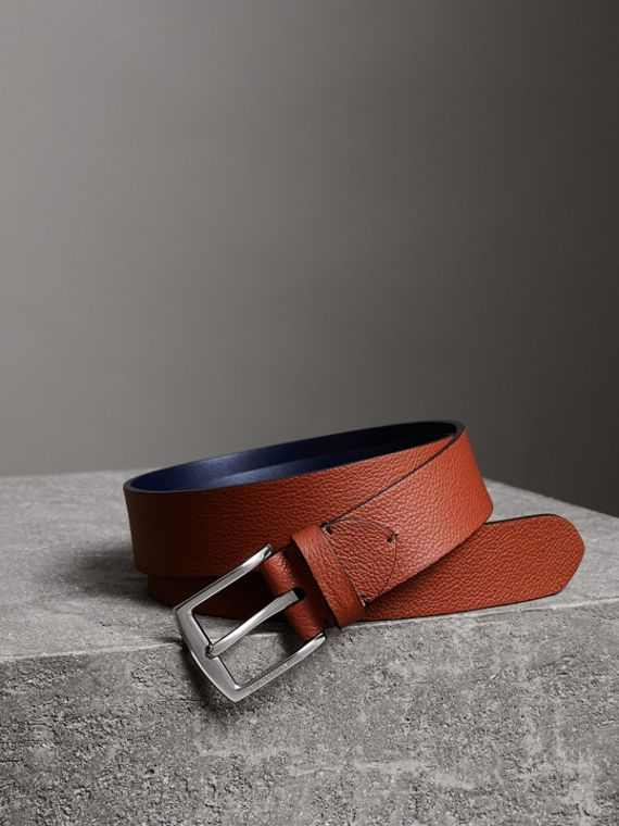 Grainy Leather Belt in Russet Brown