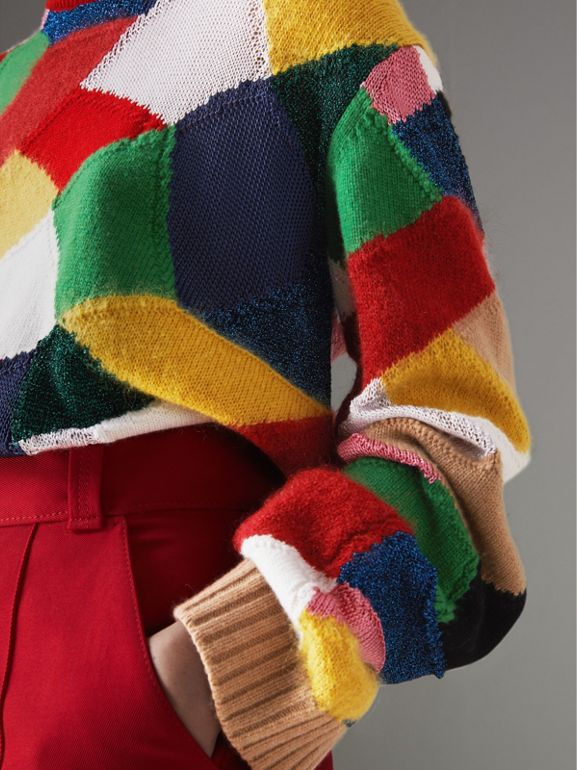 Patchwork Cashmere Wool Blend Sweater in Military Red - Women | Burberry - cell image 1
