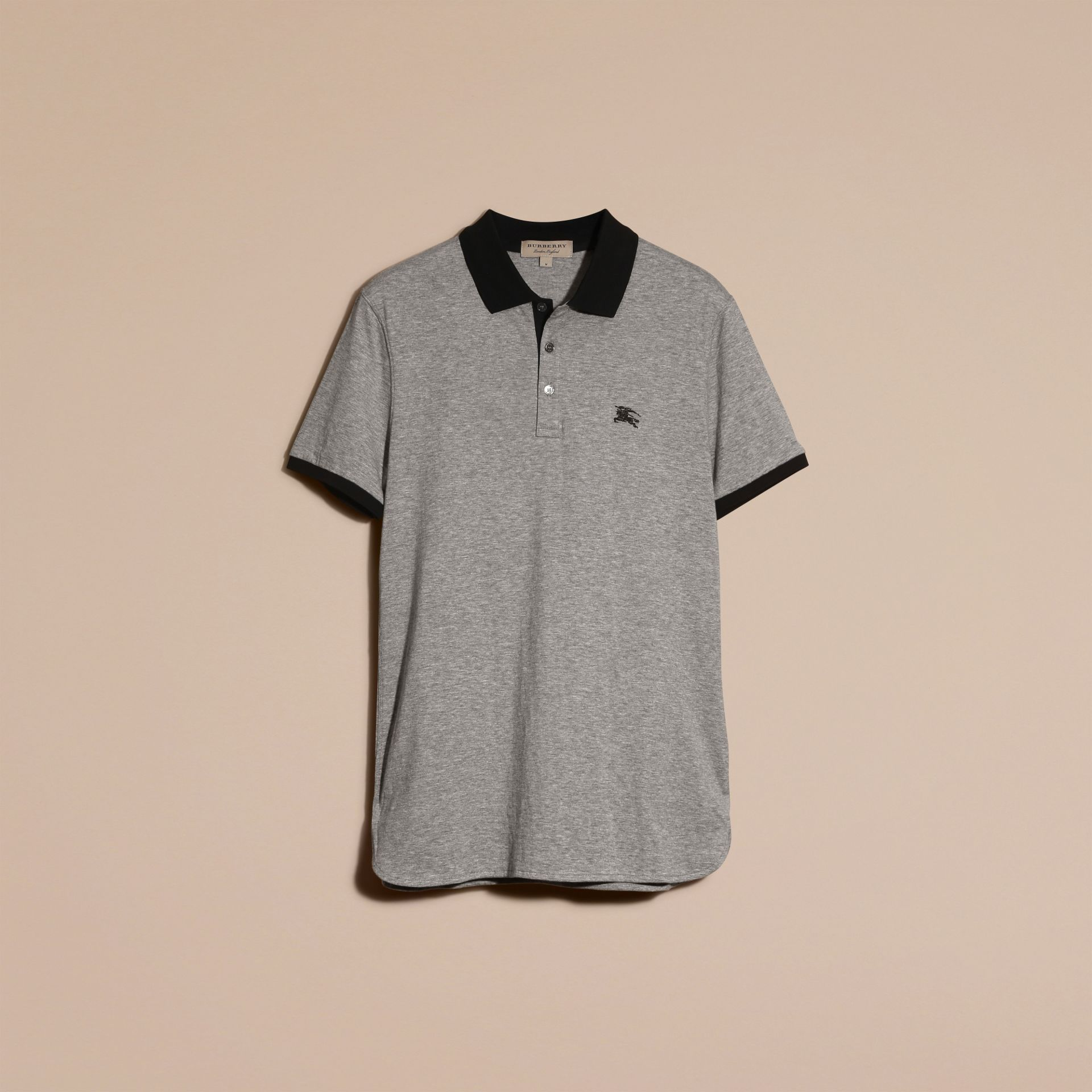 Mid grey melange Fitted Cotton Polo Shirt with Tonal Trim Mid Grey Melange - gallery image 4