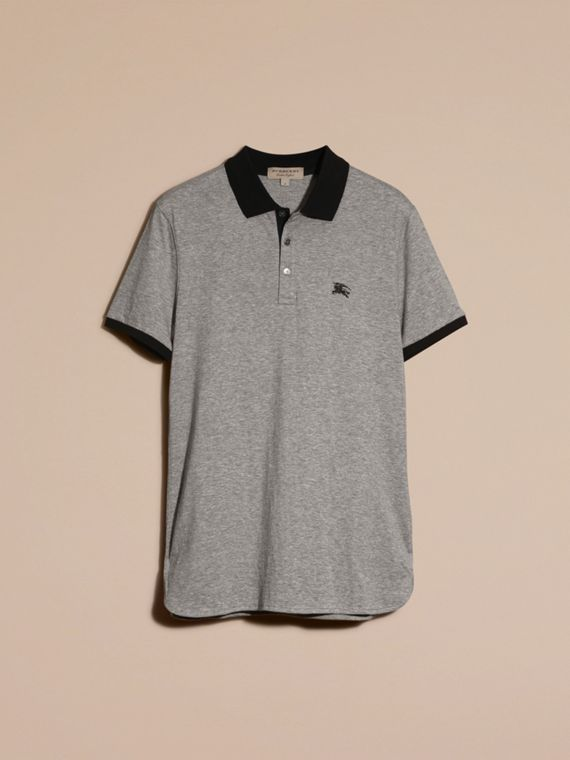 Mid grey melange Fitted Cotton Polo Shirt with Tonal Trim Mid Grey Melange - cell image 3