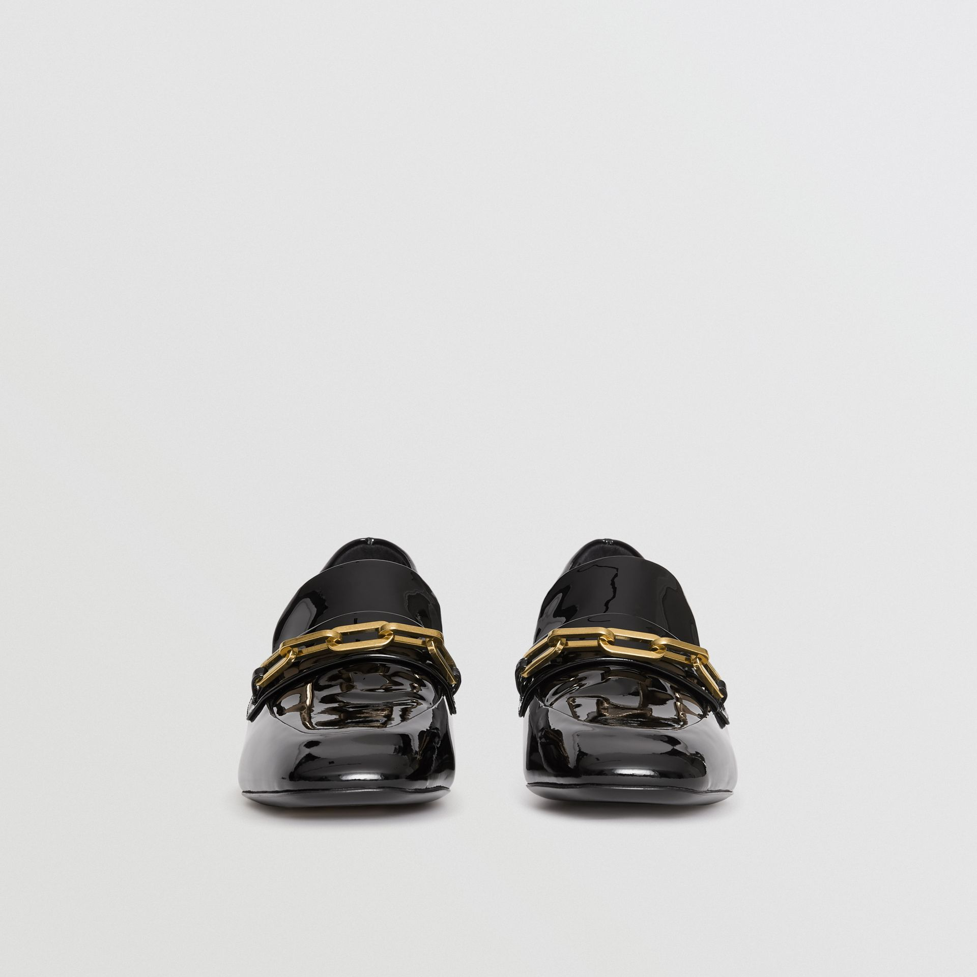 Link Detail Patent Leather Block-heel Loafers in Black - Women | Burberry United Kingdom - gallery image 4