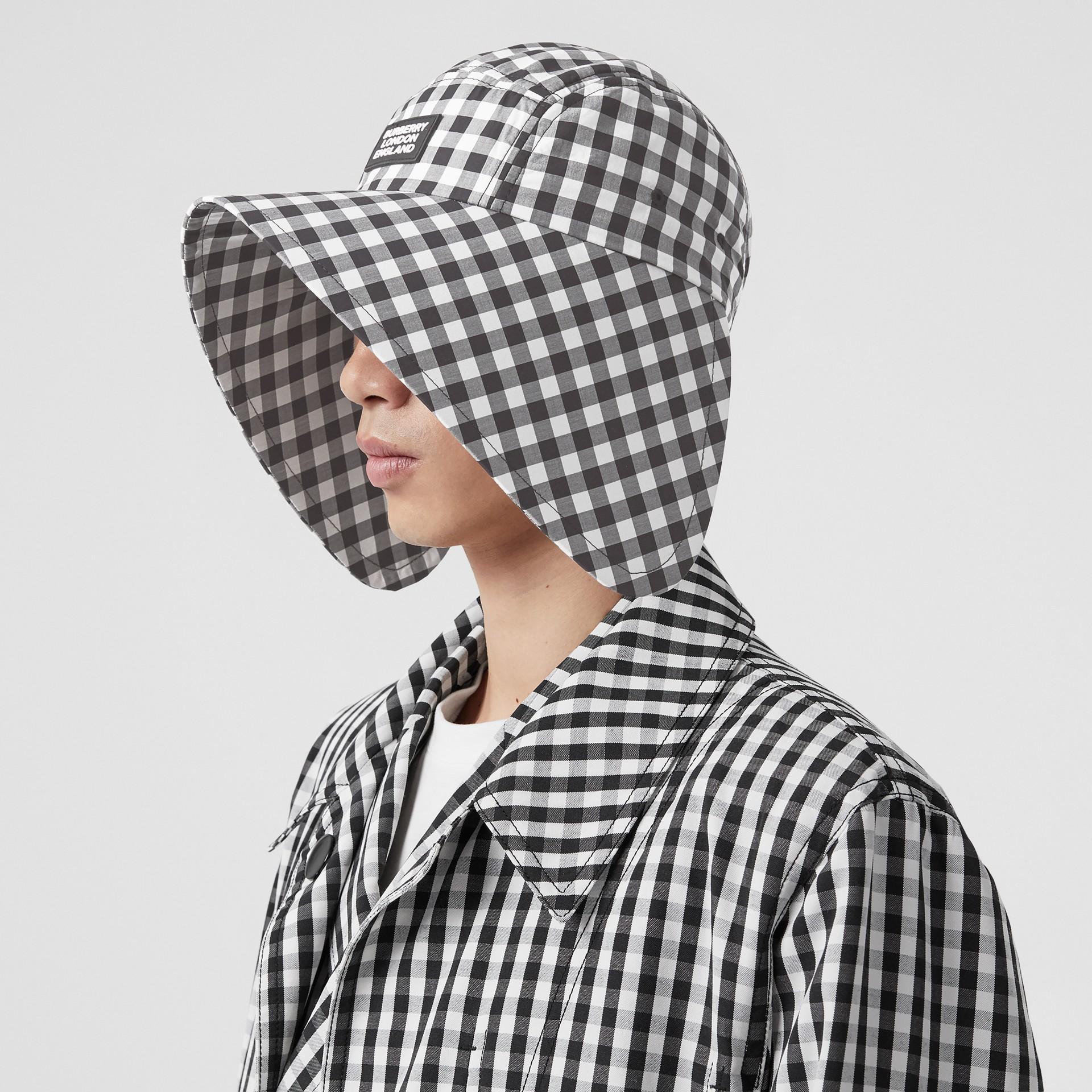 Logo Appliqué Gingham Cotton Bonnet Cap in Black/white | Burberry - gallery image 3