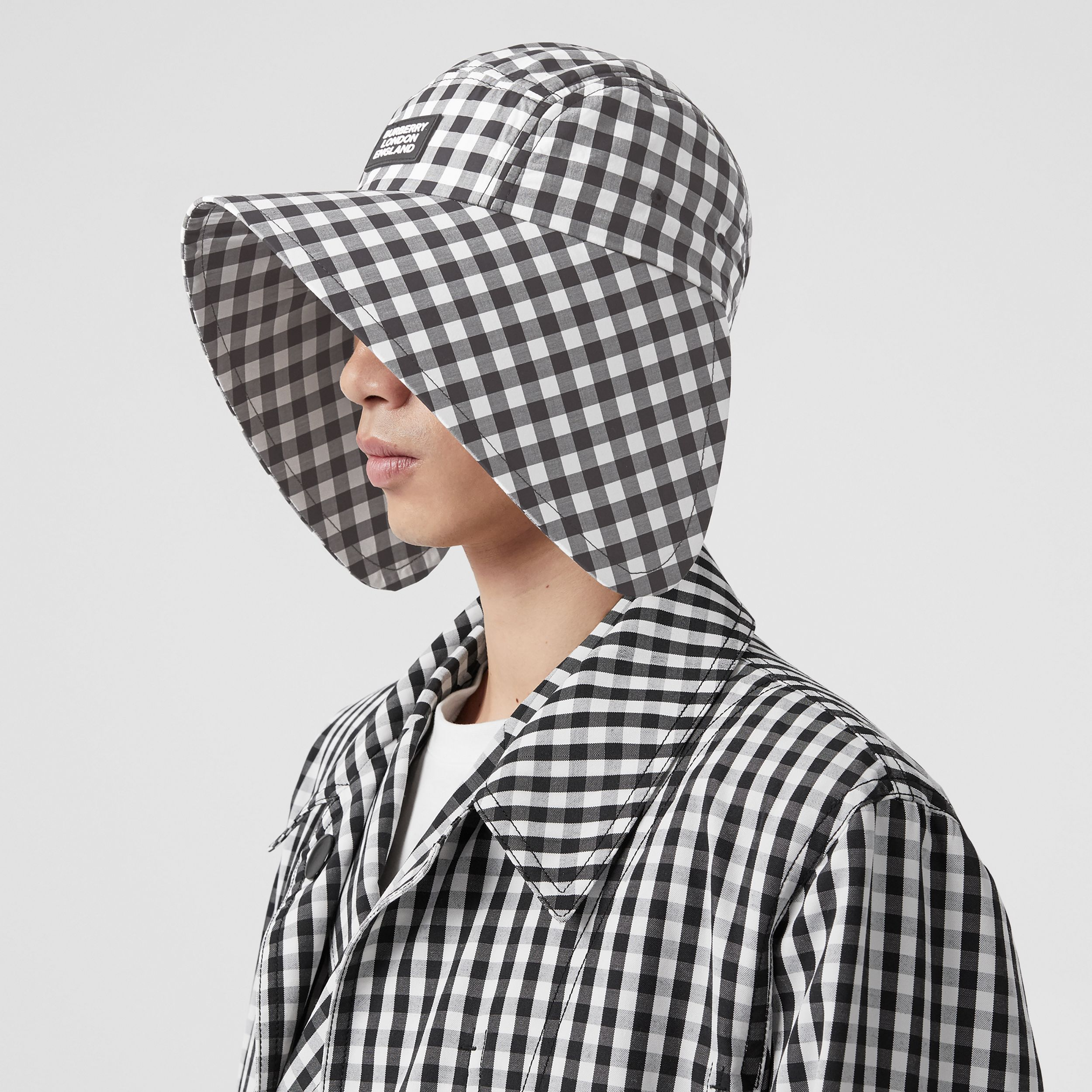 Logo Appliqué Gingham Cotton Bonnet Cap in Black/white | Burberry Australia - 4