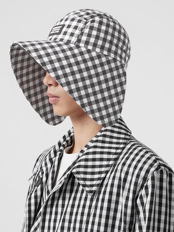 Logo Appliqué Gingham Cotton Bonnet Cap in Black/white | Burberry - cell image 3
