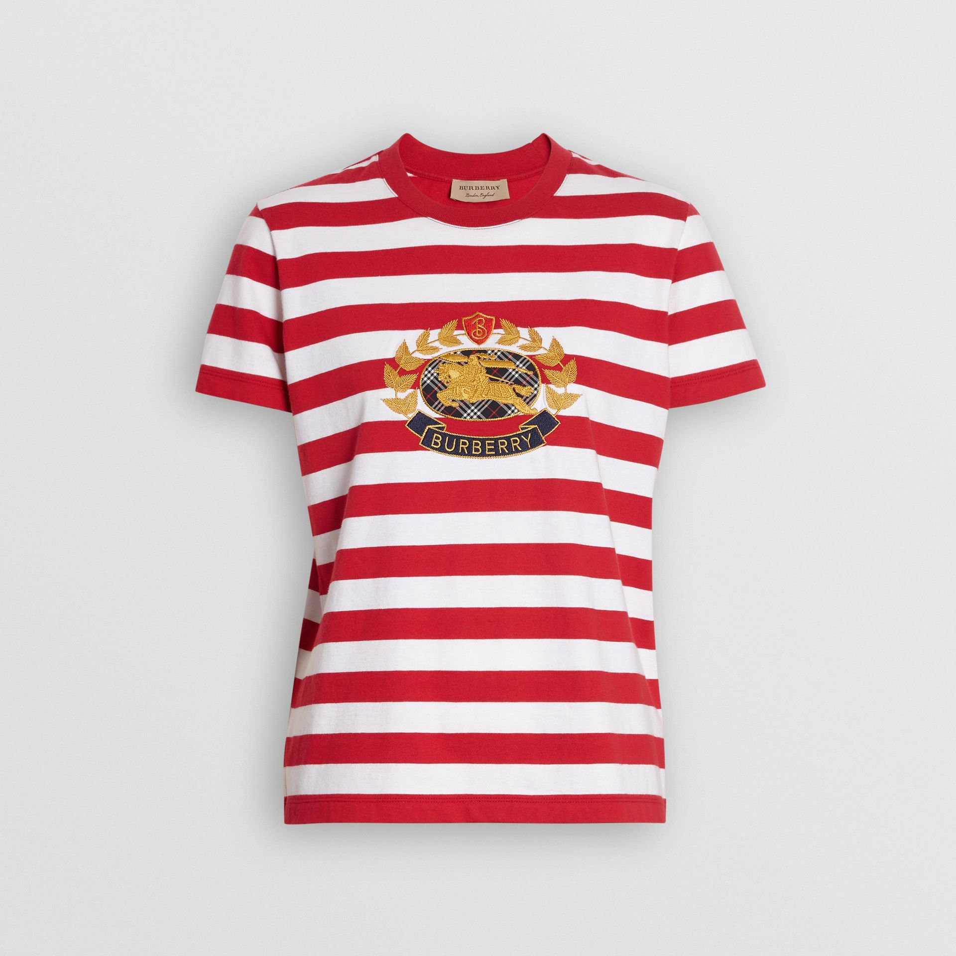 Crest Appliqué Striped Cotton T-shirt in Cadmium Red - Women | Burberry Canada - gallery image 3