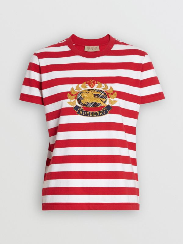 Crest Appliqué Striped Cotton T-shirt in Cadmium Red - Women | Burberry - cell image 3