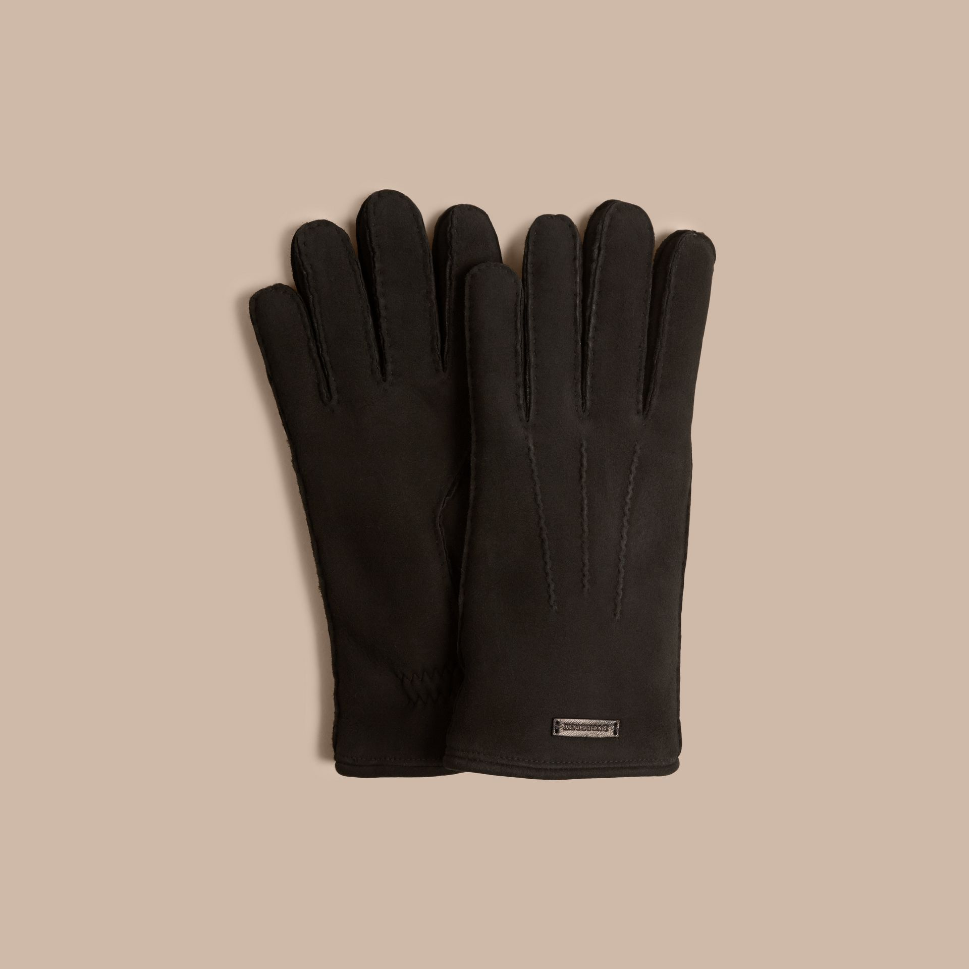 Black Shearling-lined Suede Gloves Black - gallery image 1