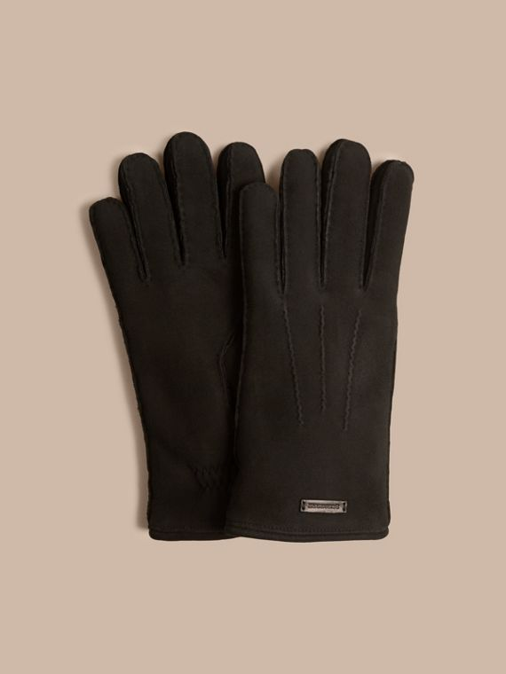 Shearling-lined Suede Gloves Black