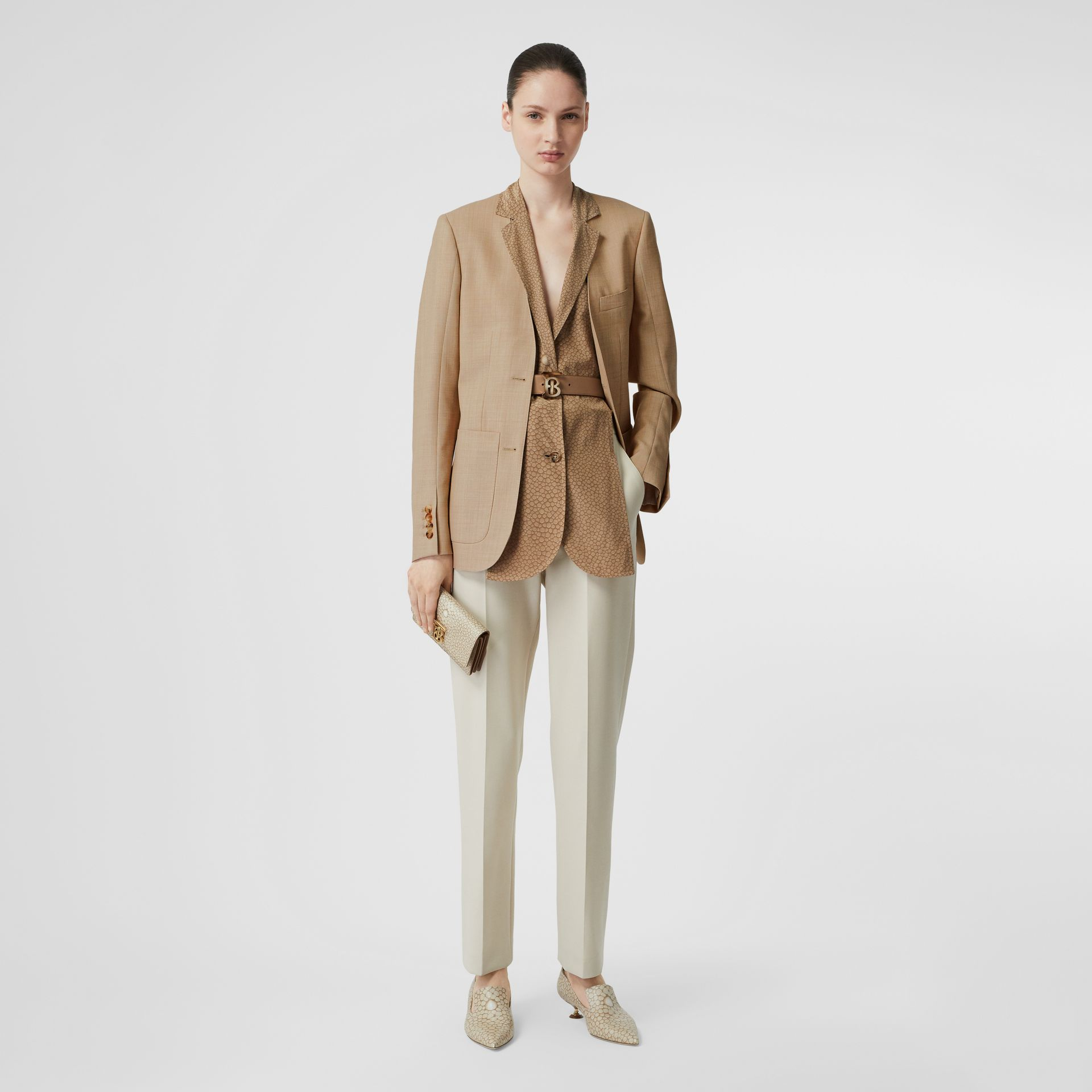 Straight Fit Stretch Wool Tailored Trousers in Pale Ochre - Women | Burberry - gallery image 0