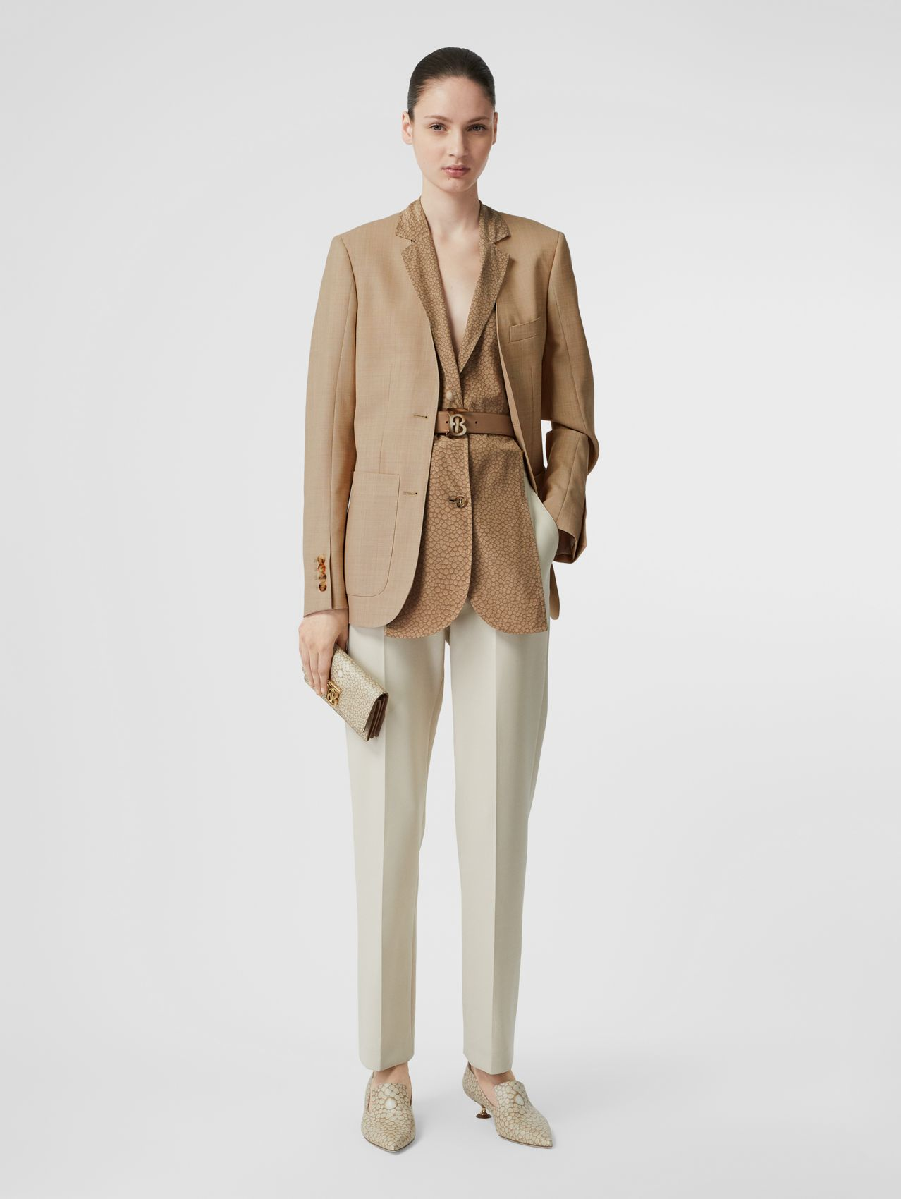 Straight Fit Stretch Wool Tailored Trousers in Pale Ochre