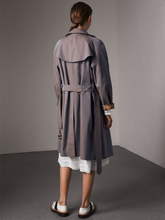Tropical Gabardine Asymmetric Trench Coat in Lilac Grey - Women | Burberry Australia - cell image 2