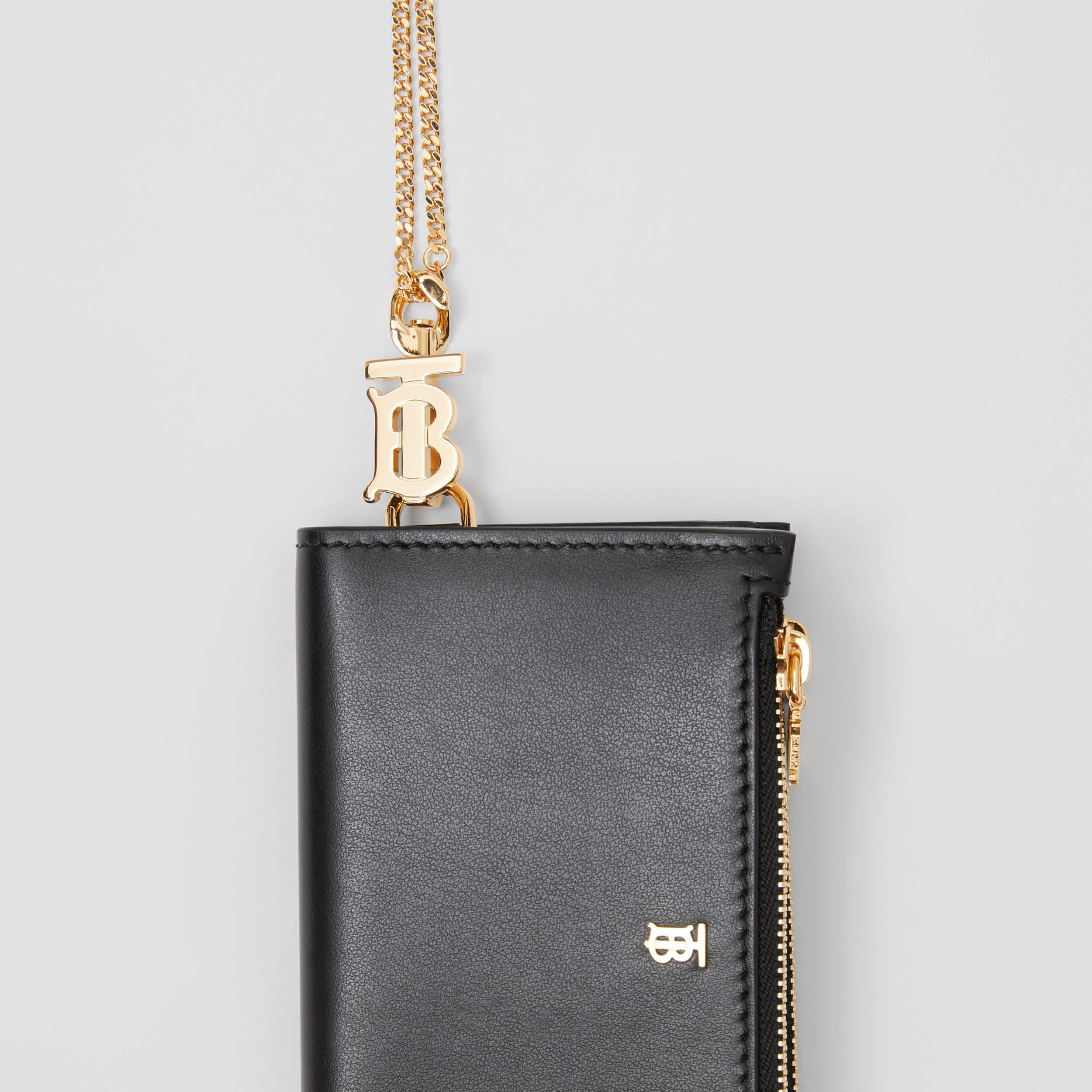 Monogram Motif Leather Wallet with Detachable Strap in Black - Women | Burberry - 2