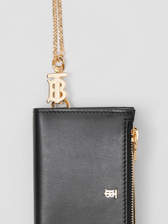 Monogram Motif Leather Wallet with Detachable Strap in Black - Women | Burberry - cell image 1