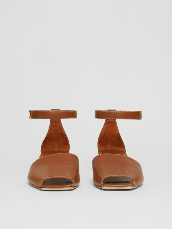 Monogram Motif Leather Kitten-heel Sandals in Tan - Women | Burberry - cell image 3