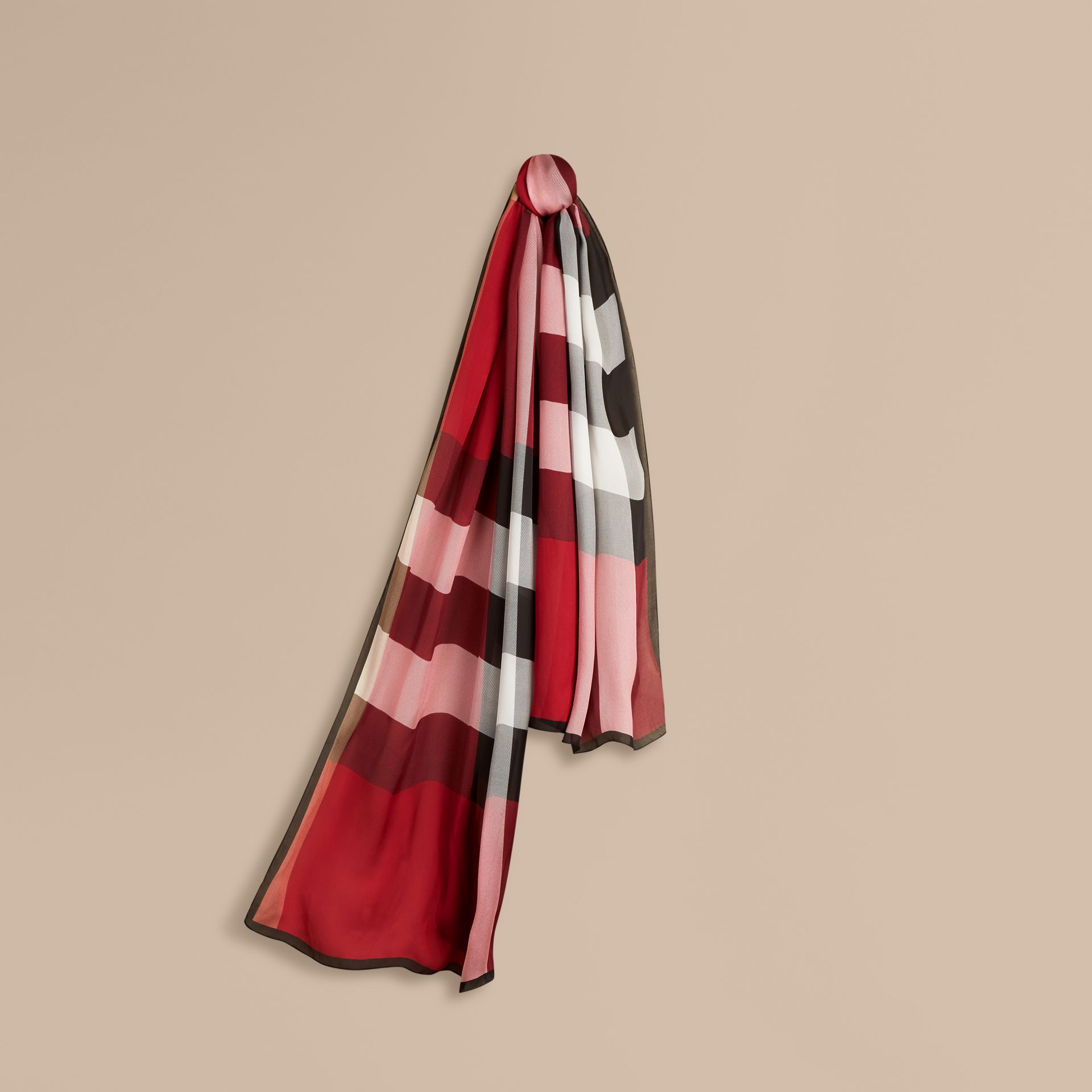 Lightweight Check Silk Scarf Parade Red - gallery image 1