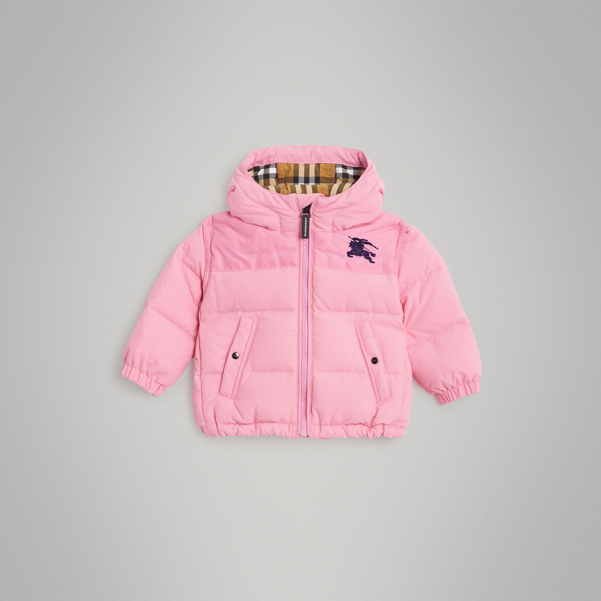 Down-filled Hooded Puffer Jacket in Ice Pink - Children | Burberry Singapore - gallery image 0