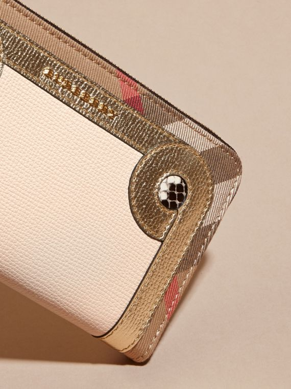 Snakeskin and House Check Ziparound Wallet in Limestone - cell image 2