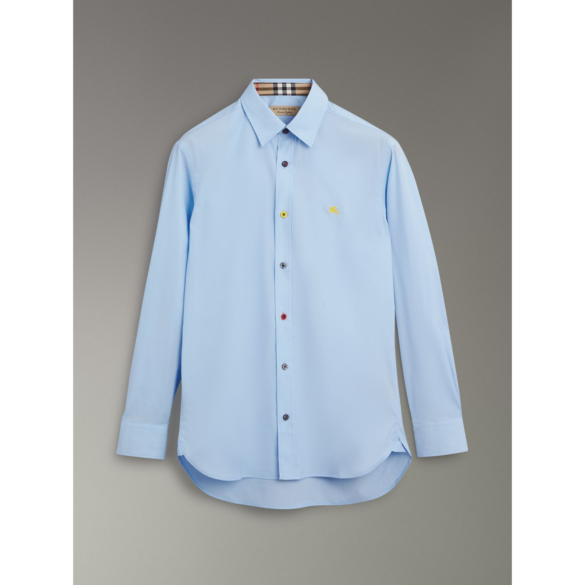 Contrast Button Stretch Cotton Shirt in Pale Blue - Men | Burberry - gallery image 3