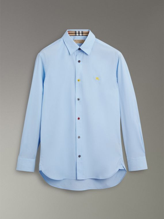 Contrast Button Stretch Cotton Shirt in Pale Blue - Men | Burberry Australia - cell image 3