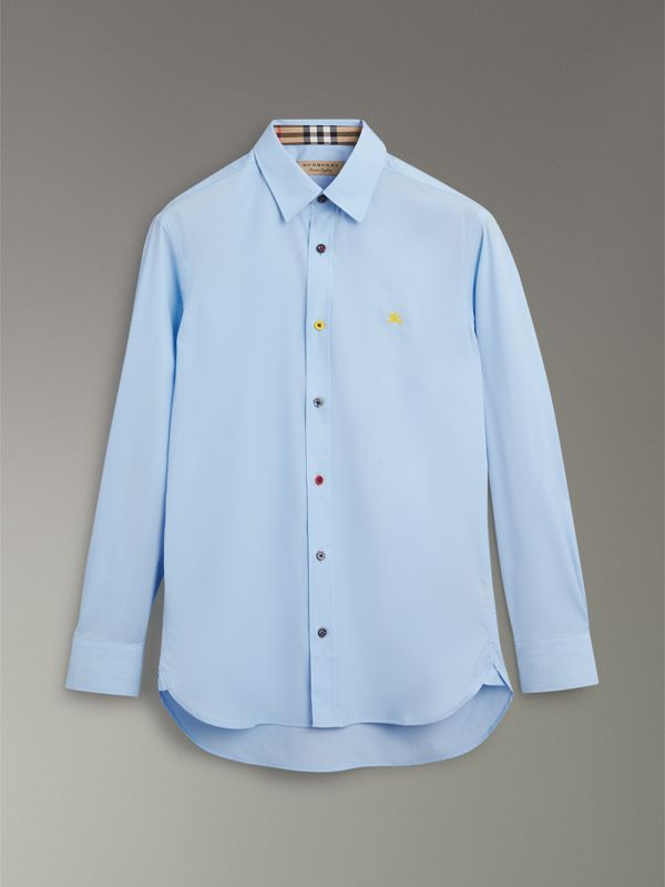 Contrast Button Stretch Cotton Shirt in Pale Blue - Men | Burberry Singapore - cell image 3