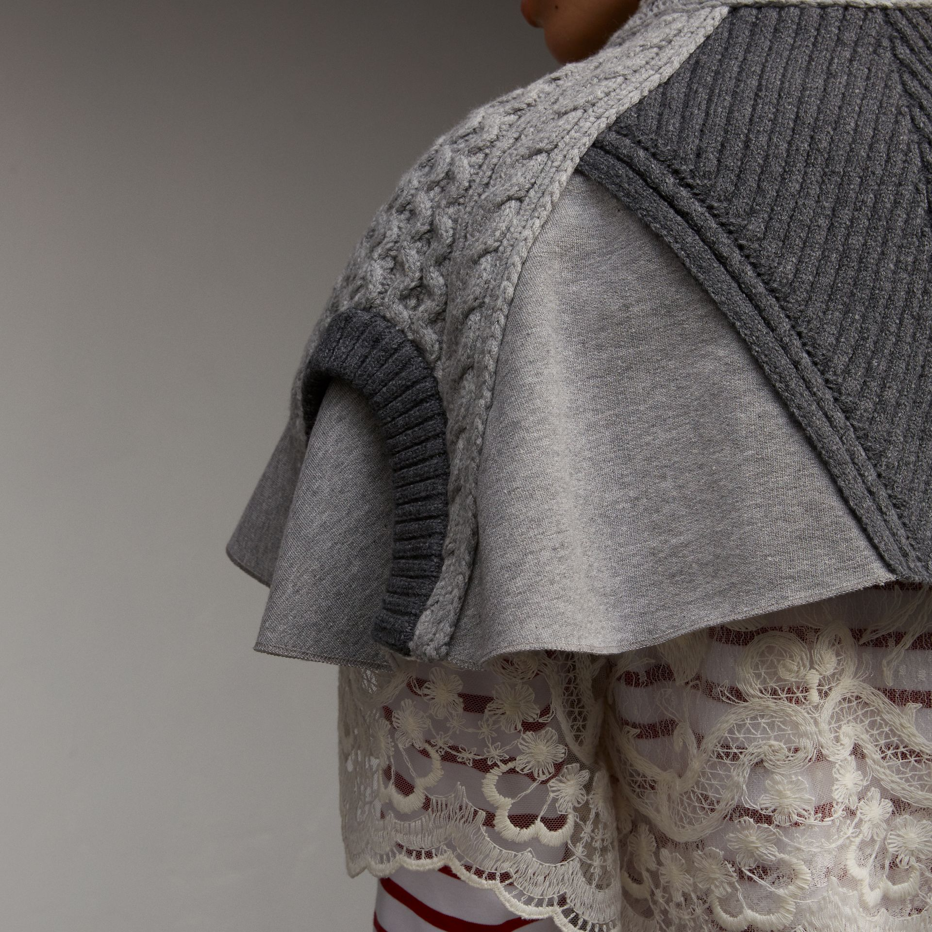 Cable Knit and Brushed-back Jersey Capelet in Grey Melange - Women | Burberry - gallery image 5