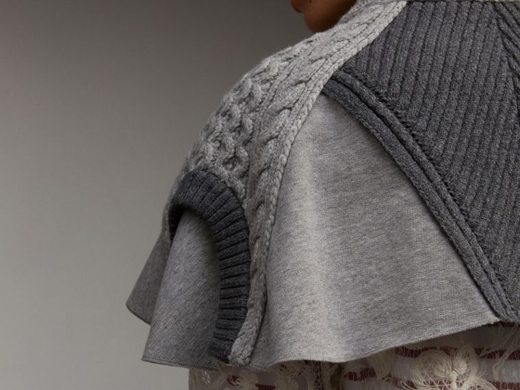 Cable Knit and Brushed-back Jersey Capelet in Grey Melange - Women | Burberry - cell image 4