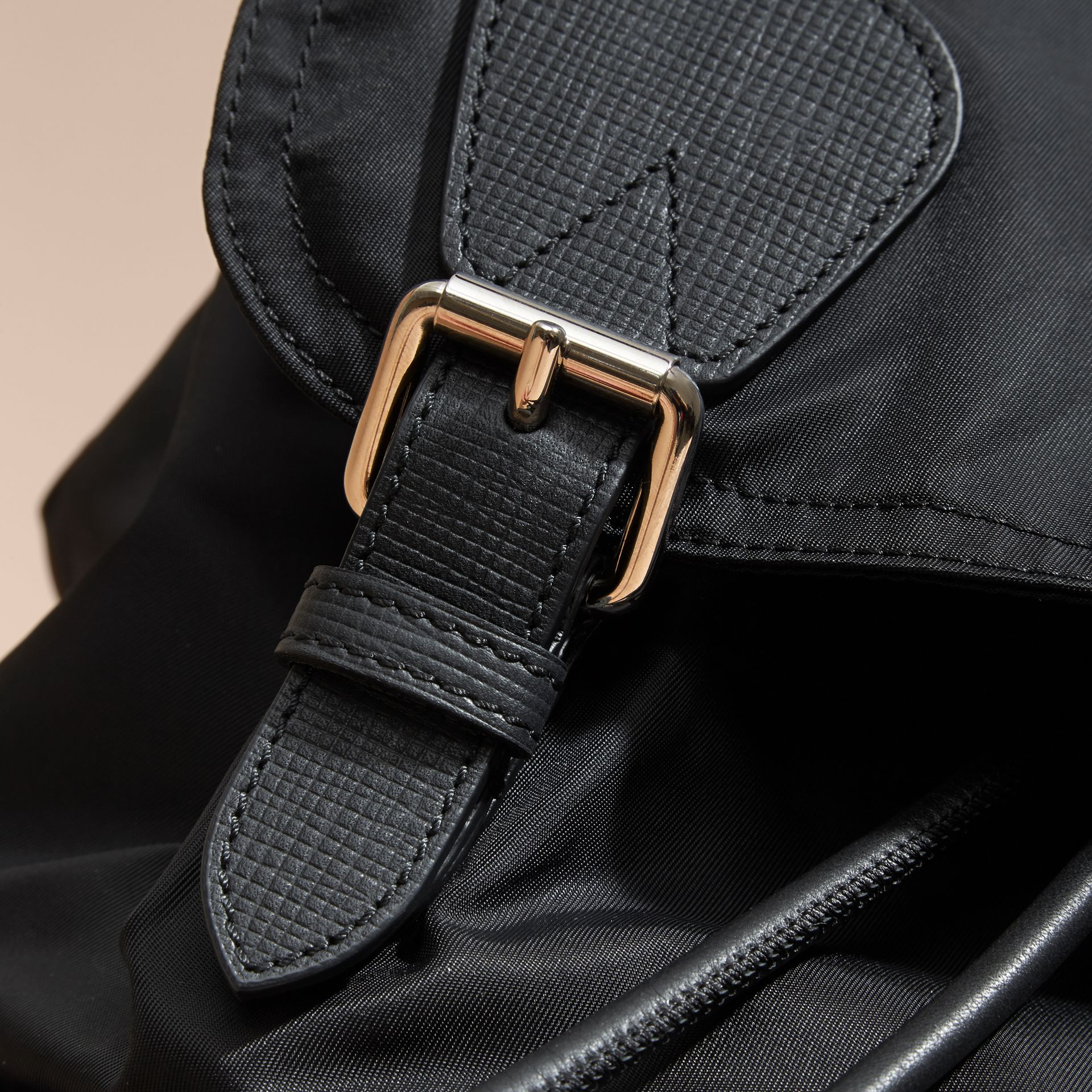 The Large Rucksack in Technical Nylon and Leather Black/black - gallery image 7