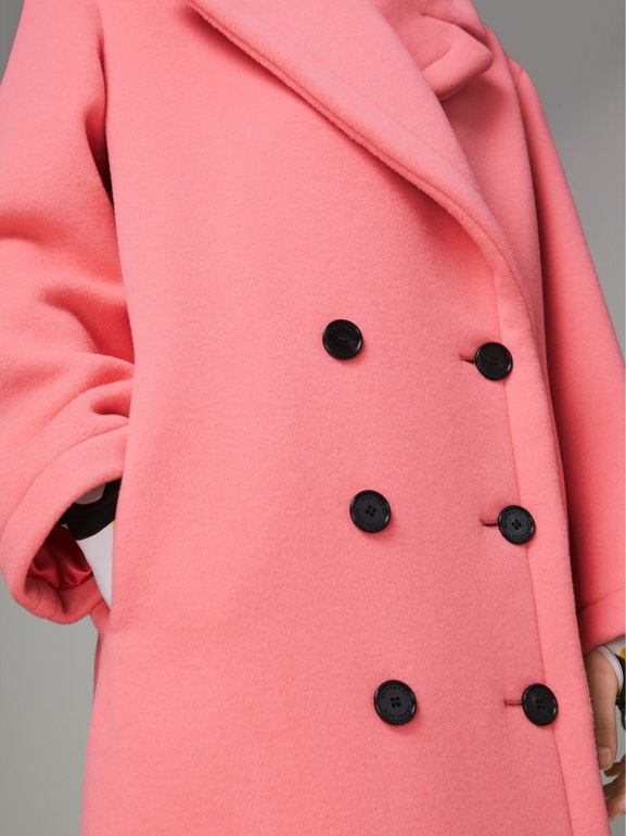 Double-faced Wool Cashmere Cocoon Coat in Bright Coral Pink - Women | Burberry - cell image 1