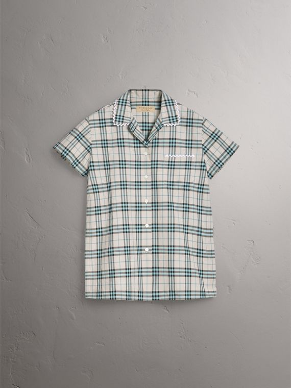 Short-sleeve Lace Trim Check Cotton Shirt in Pale Stone - Women | Burberry United States - cell image 3