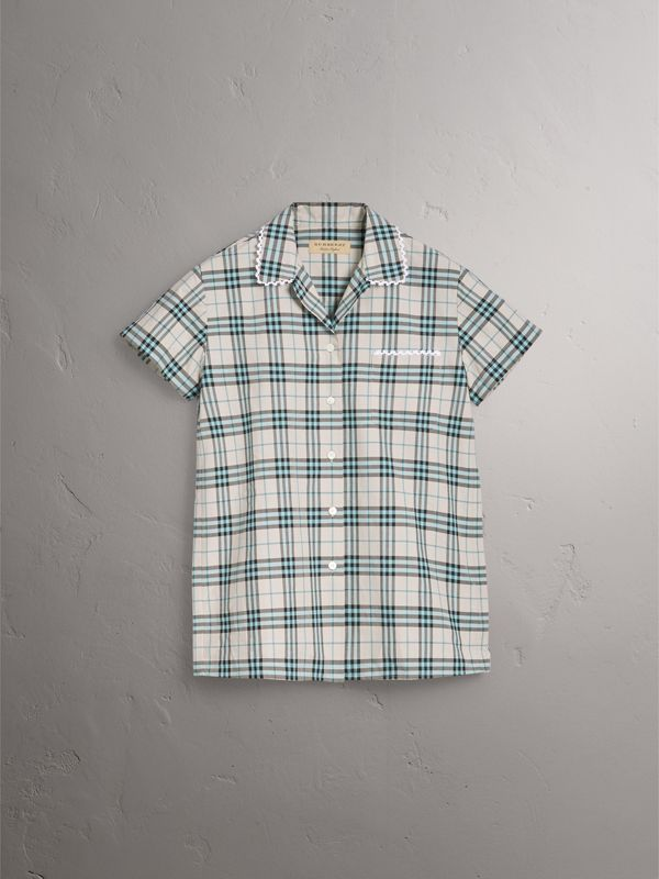Short-sleeve Lace Trim Check Cotton Shirt in Pale Stone - Women | Burberry - cell image 3