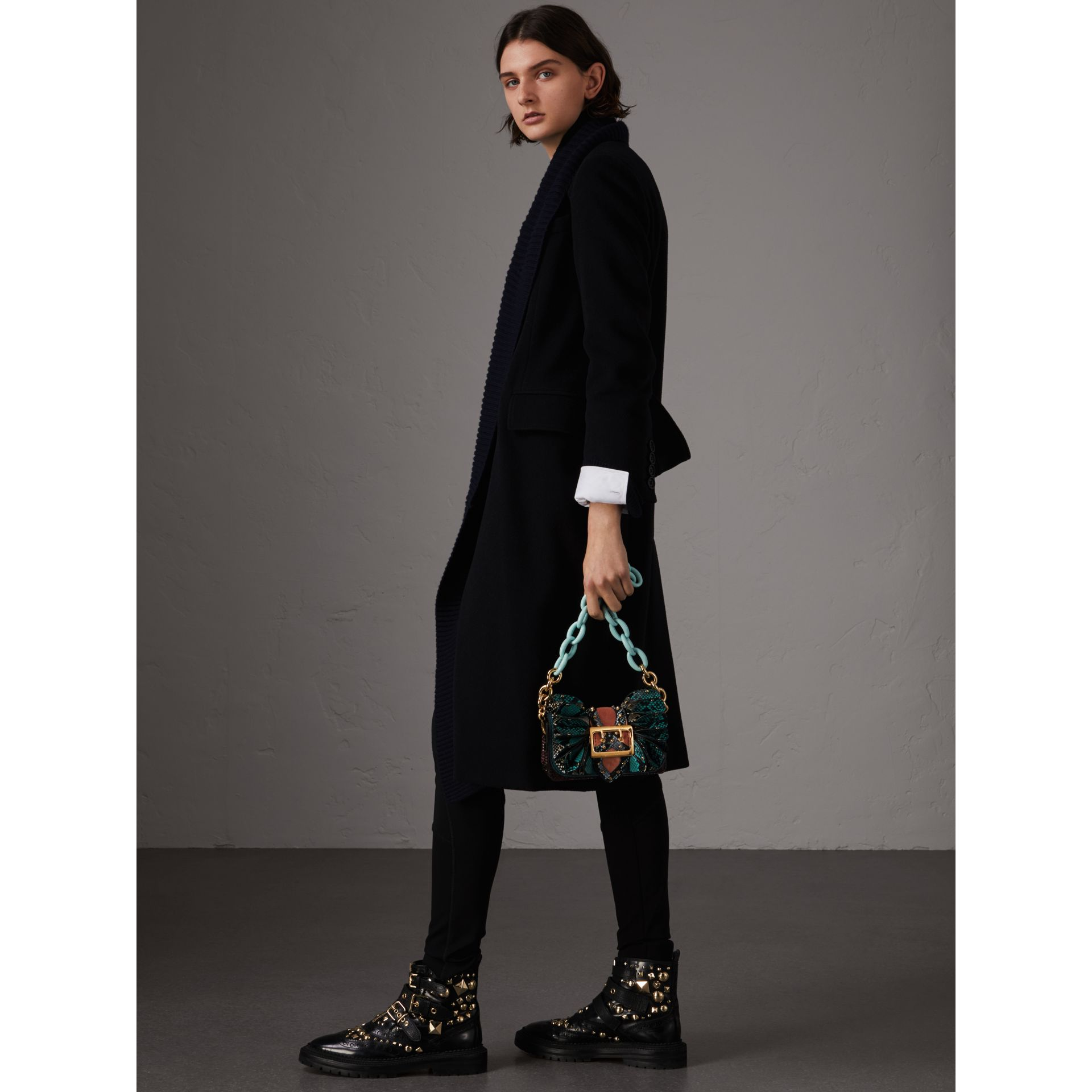 The Ruffle Buckle Bag in Snakeskin and Velvet in Teal - Women | Burberry United States - gallery image 4