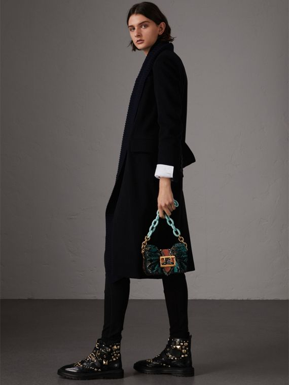 The Ruffle Buckle Bag in Snakeskin and Velvet in Teal - Women | Burberry - cell image 3