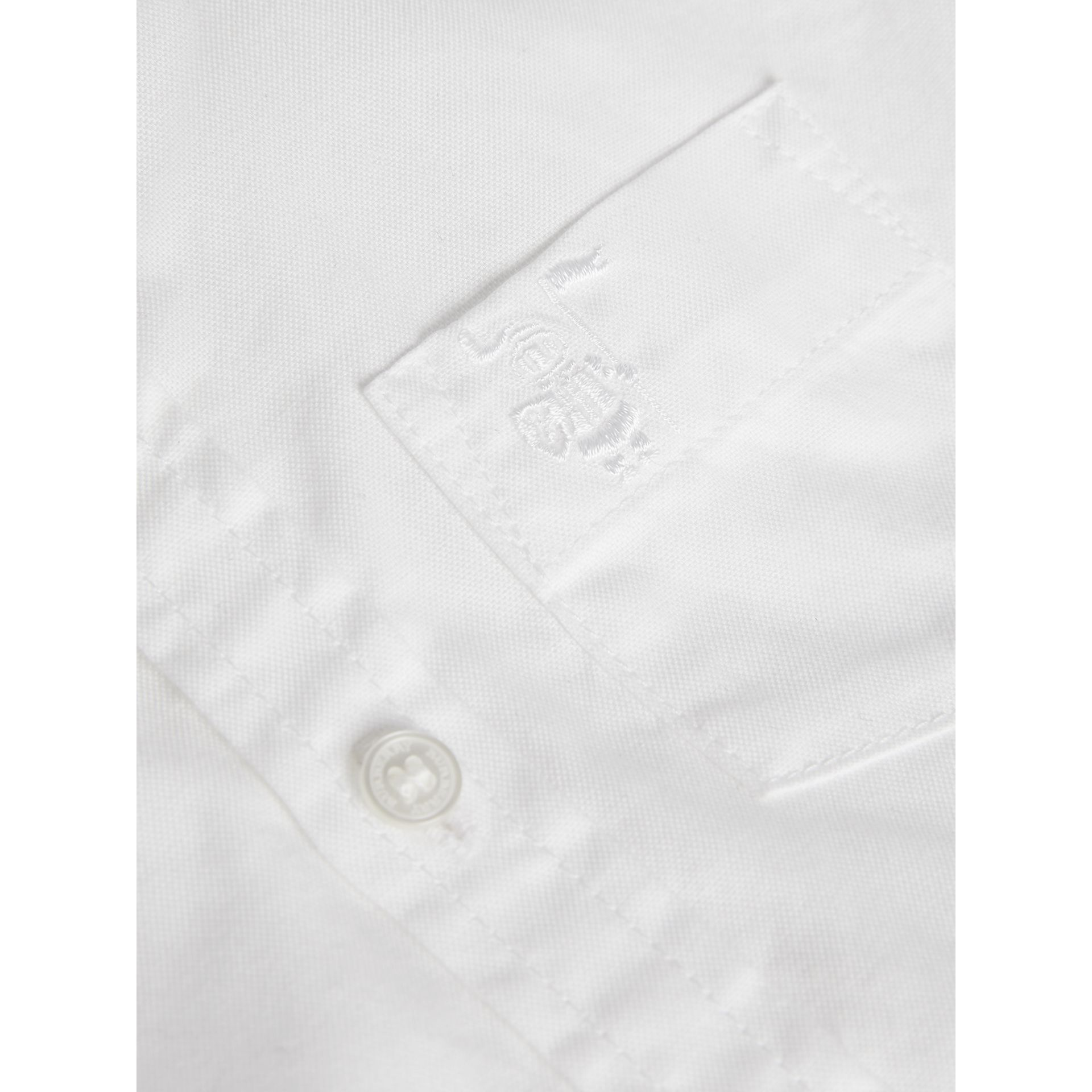 Cotton Oxford Shirt in White | Burberry Australia - gallery image 1