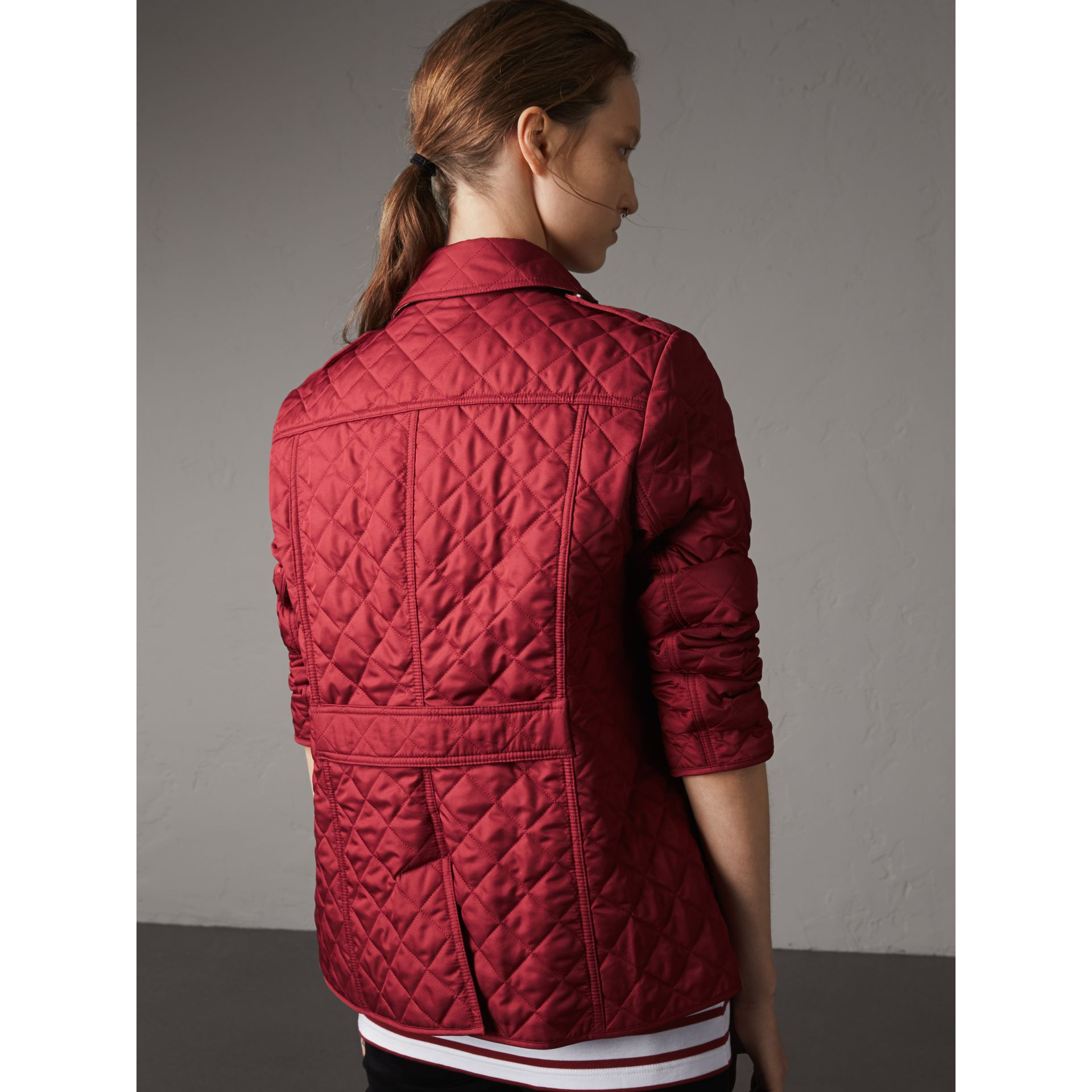 Diamond Quilted Jacket in Parade Red - Women | Burberry Australia - gallery image 3